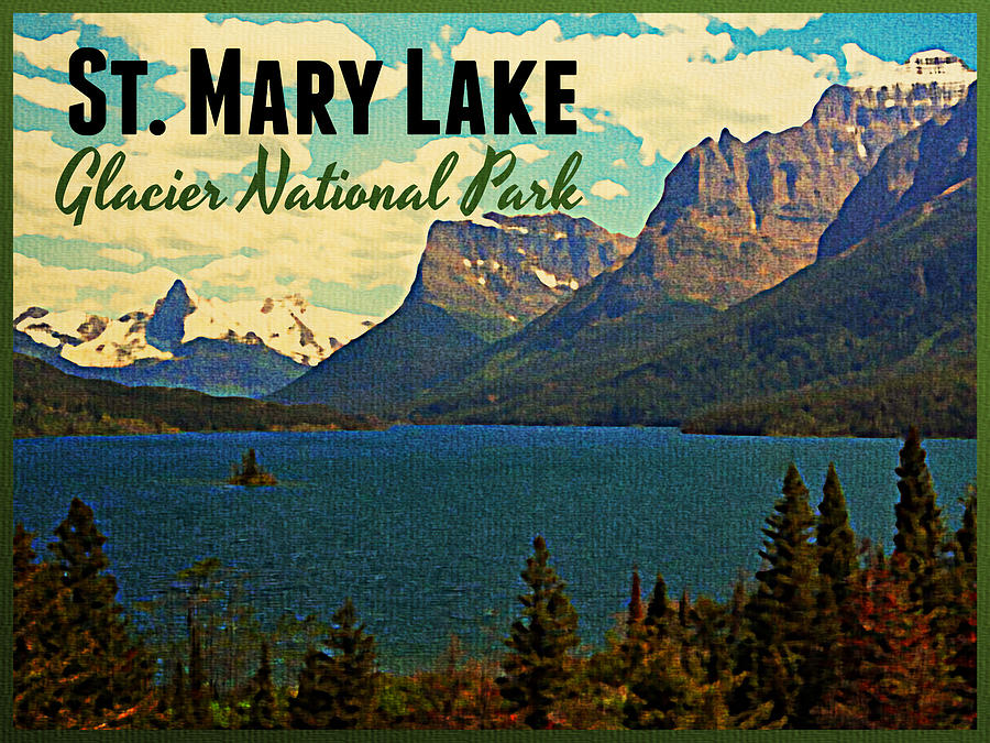 St. Mary Lake Glacier National Park Digital Art