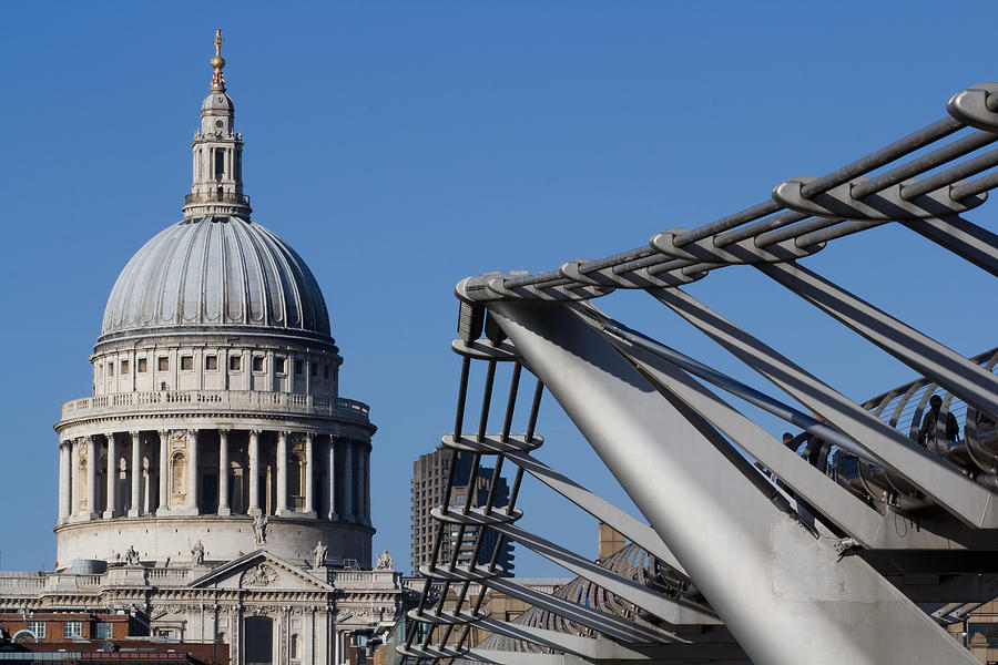 St Pauls Cathedral And The Millenium Bridge  Photograph