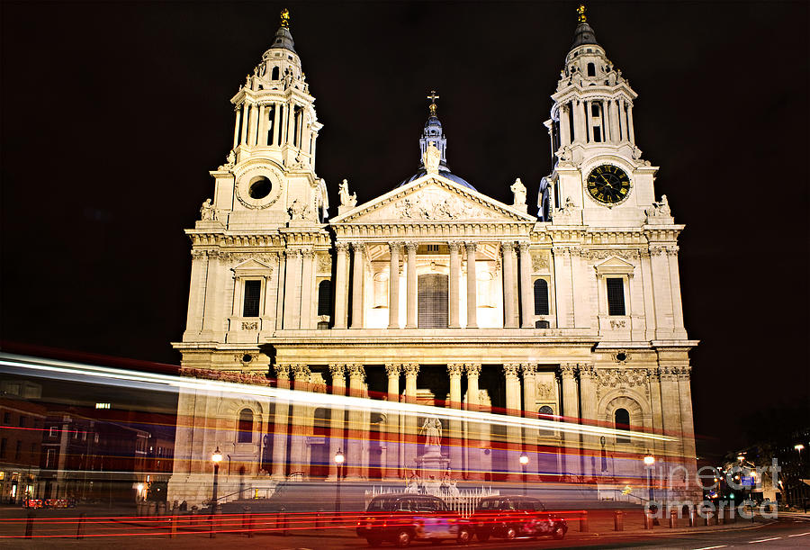 St. Pauls Cathedral In London At Night Photograph  - St. Pauls Cathedral In London At Night Fine Art Print