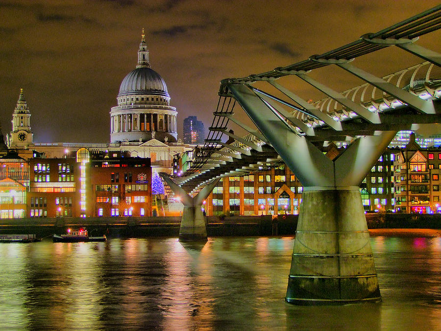 St Pauls Catherderal And Millennium Footbridge - Night - Hdr Photograph