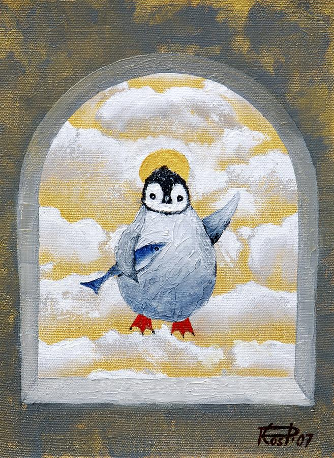 St Pinguin Bringer Of Fish Painting