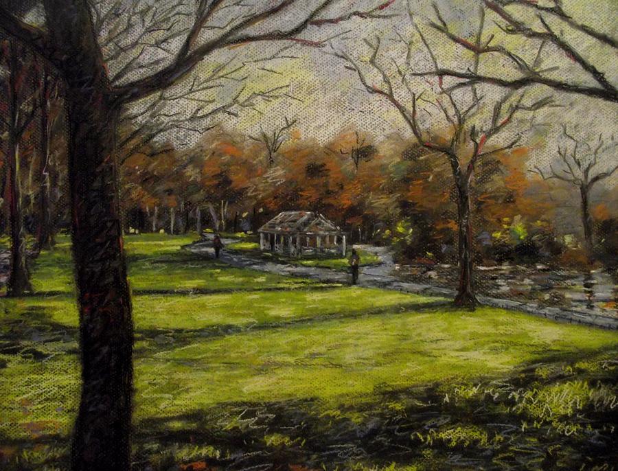 Landscape Pastel - St. Stephens Green Dublin by John  Nolan