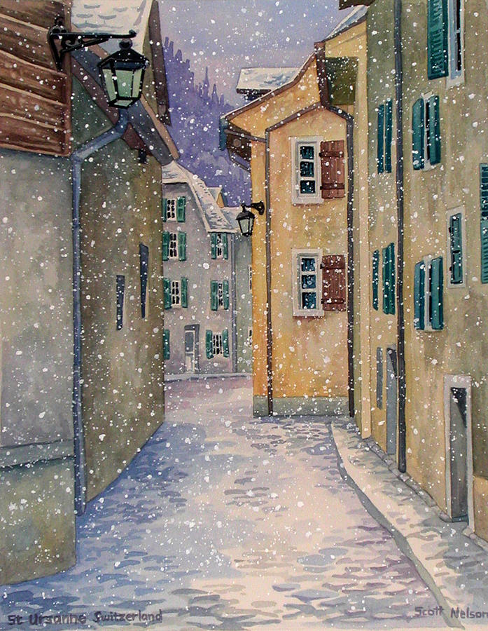 Switzerland Painting - St Ursanne In Snow by Scott Nelson
