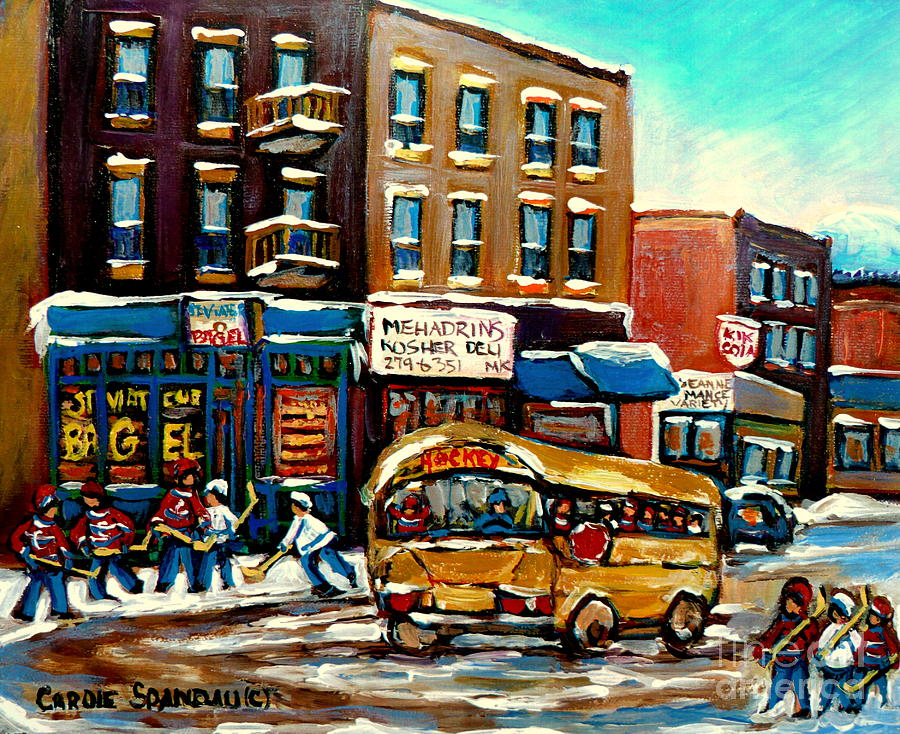St. Viateur Bagel With Hockey Bus  Painting  - St. Viateur Bagel With Hockey Bus  Fine Art Print
