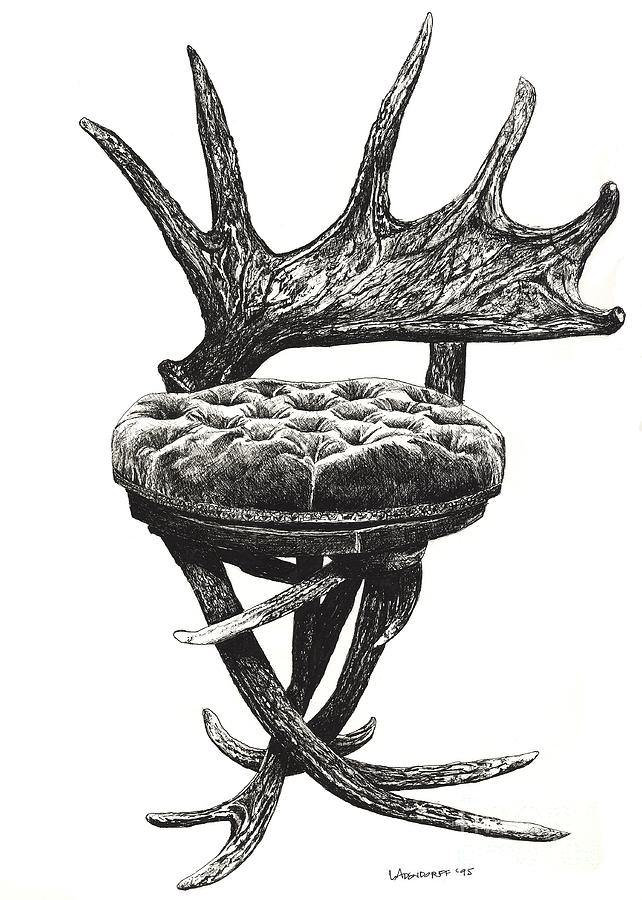 Stag Antlers Chair Drawing
