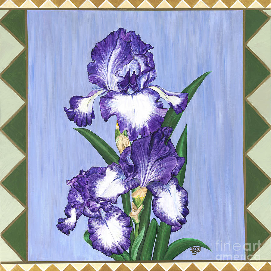 Stain Glass Purple Iris Painting  - Stain Glass Purple Iris Fine Art Print