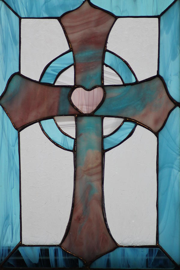 Stained Glass Cross Glass Art  - Stained Glass Cross Fine Art Print