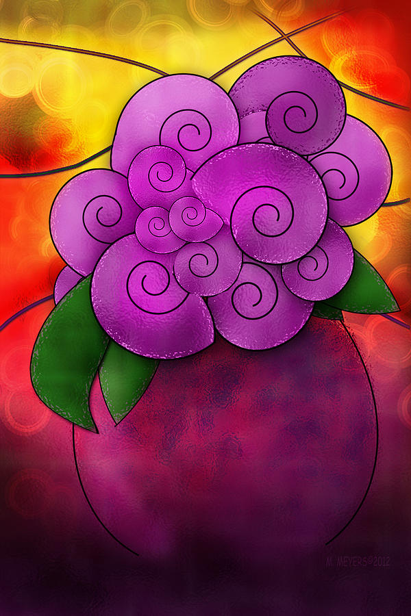 Stained Glass Florals Digital Art  - Stained Glass Florals Fine Art Print