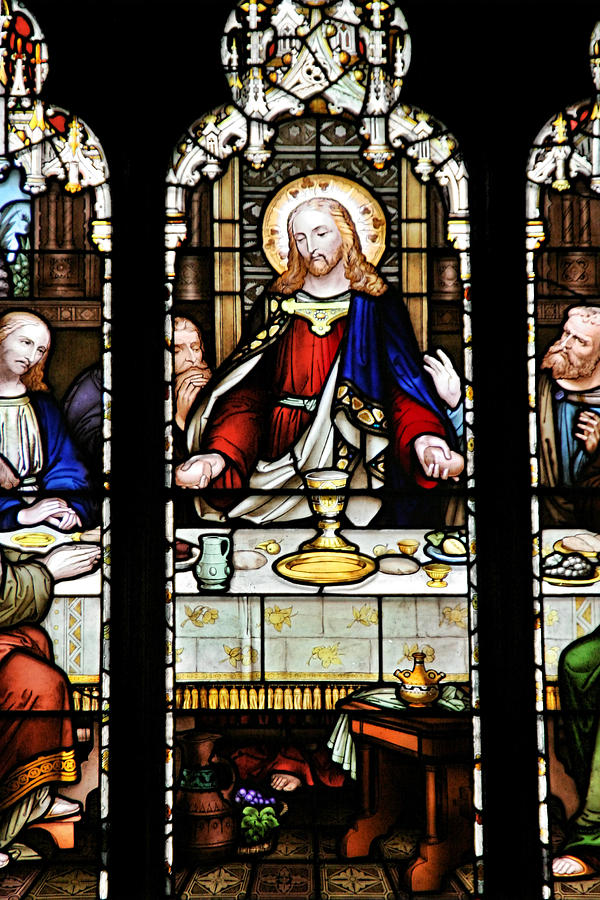 Stained Glass Window Last Supper Saint Giles Cathedral Edinburgh Scotland Photograph