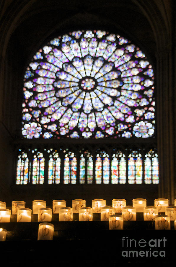 Stained Glass Window Of Notre Dame De Paris. France Photograph