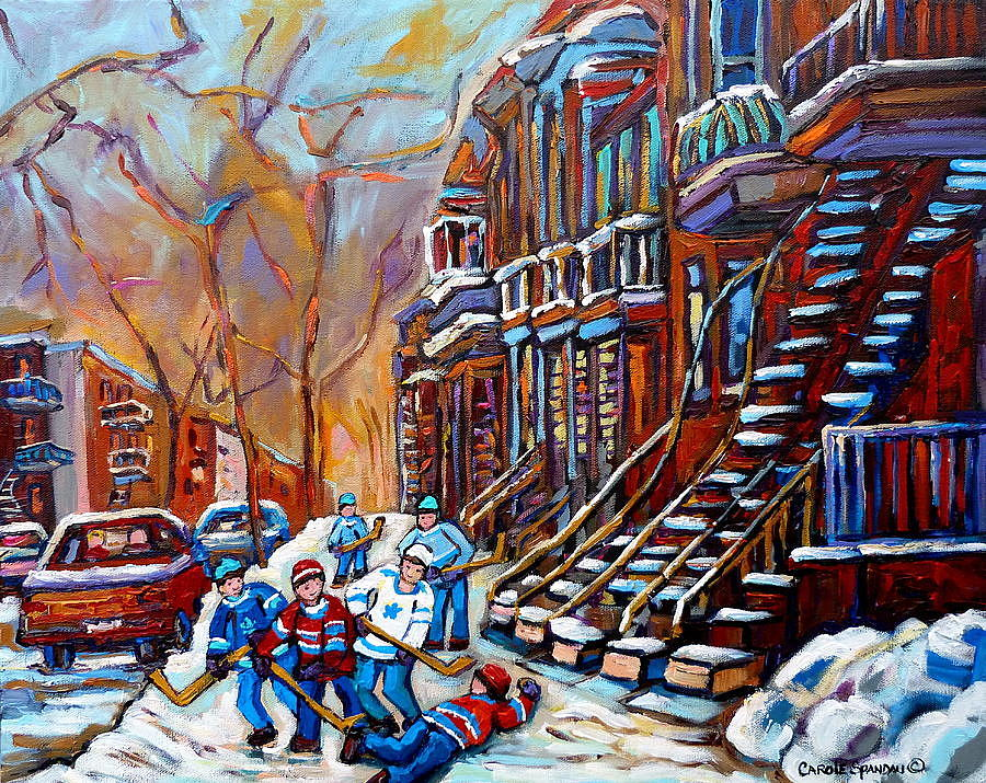 Staircase Paintings - Verdun - Rosemont -  Plateau Mont Royal - St. Henri - Hockey Scenes Painting  - Staircase Paintings - Verdun - Rosemont -  Plateau Mont Royal - St. Henri - Hockey Scenes Fine Art Print