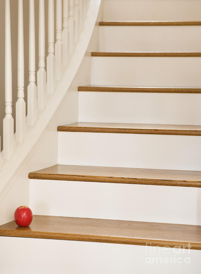 Stairs And Apple Photograph