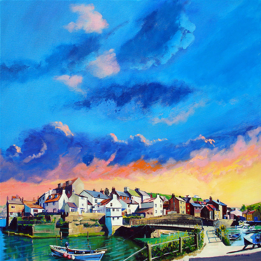 Staithes At Sundown Painting