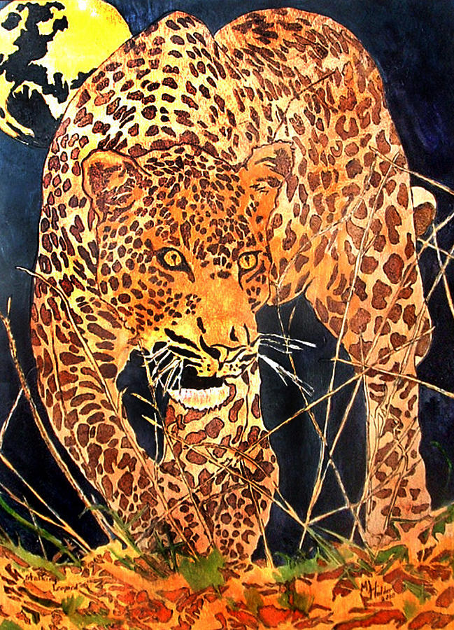 Leopard Pyrography - Stalking Leopard by Mike Holder