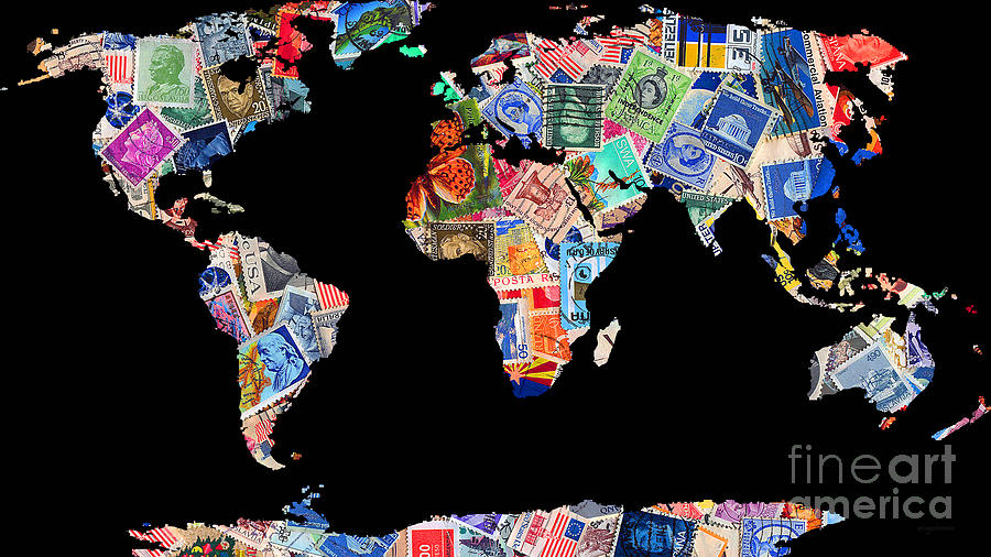 Stamps Of The World Map . V1 Photograph