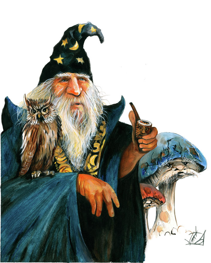 Stan the Wizard and the Magic Mushrooms II Painting  - Stan the Wizard and the Magic Mushrooms II Fine Art Print