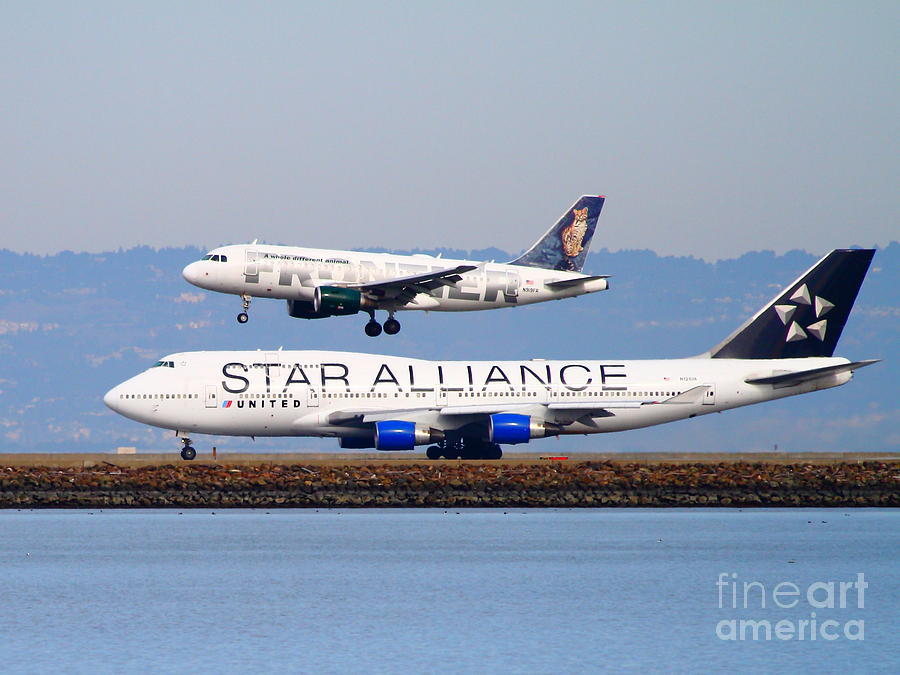 Star Alliance Airlines And Frontier Airlines Jet Airplanes At San Francisco International Airport Photograph