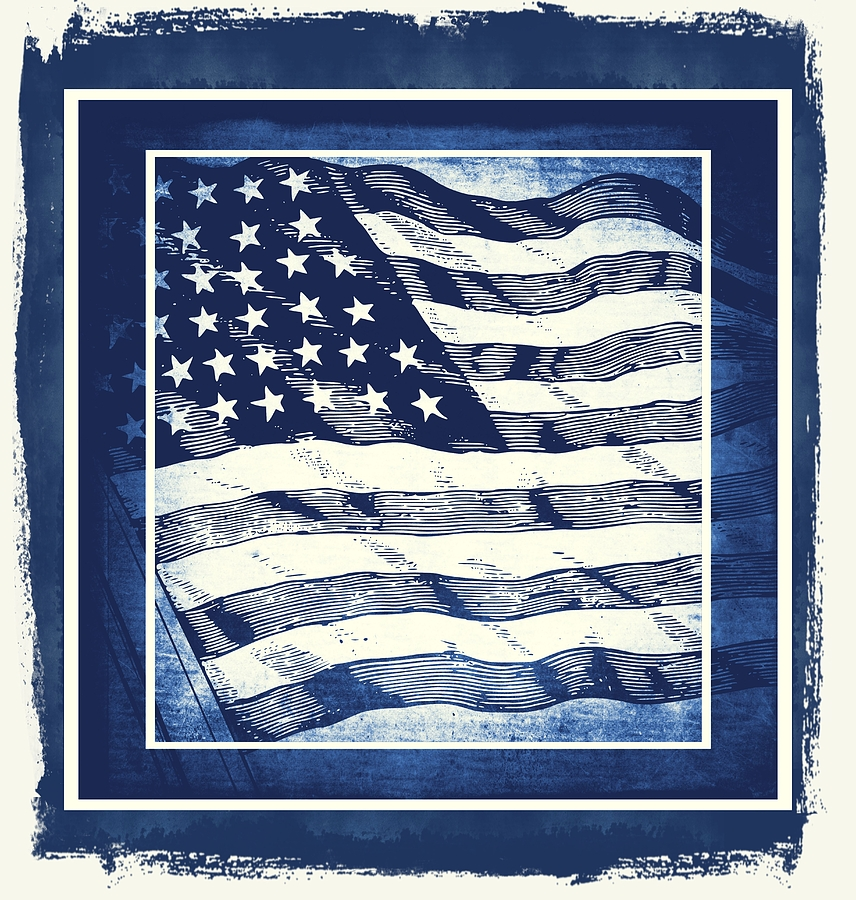 Star Spangled Banner Blue Mixed Media  - Star Spangled Banner Blue Fine Art Print