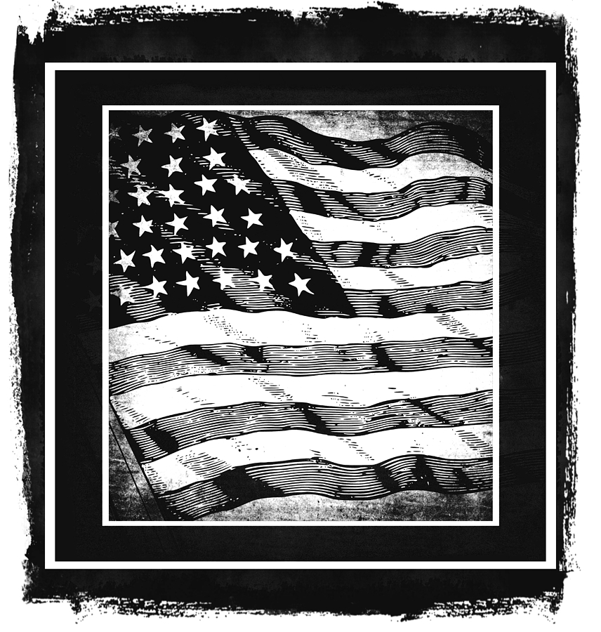 Star Spangled Banner Bw Mixed Media