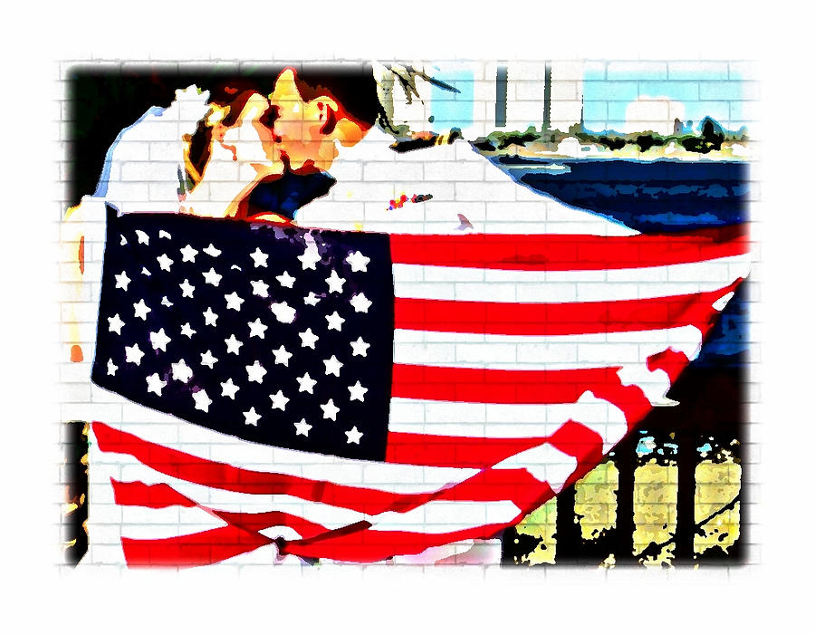 Star Spangled Wedding Kiss Photograph  - Star Spangled Wedding Kiss Fine Art Print