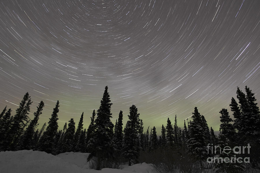 Star Trails, Milky Way And Green Aurora Photograph