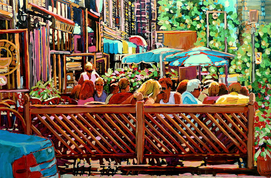 Starbucks Cafe On Monkland Montreal Cityscene Painting