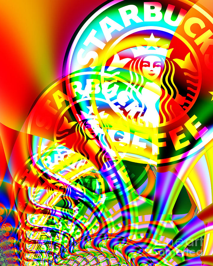 Starbucks Coffee In Abstract Photograph  - Starbucks Coffee In Abstract Fine Art Print