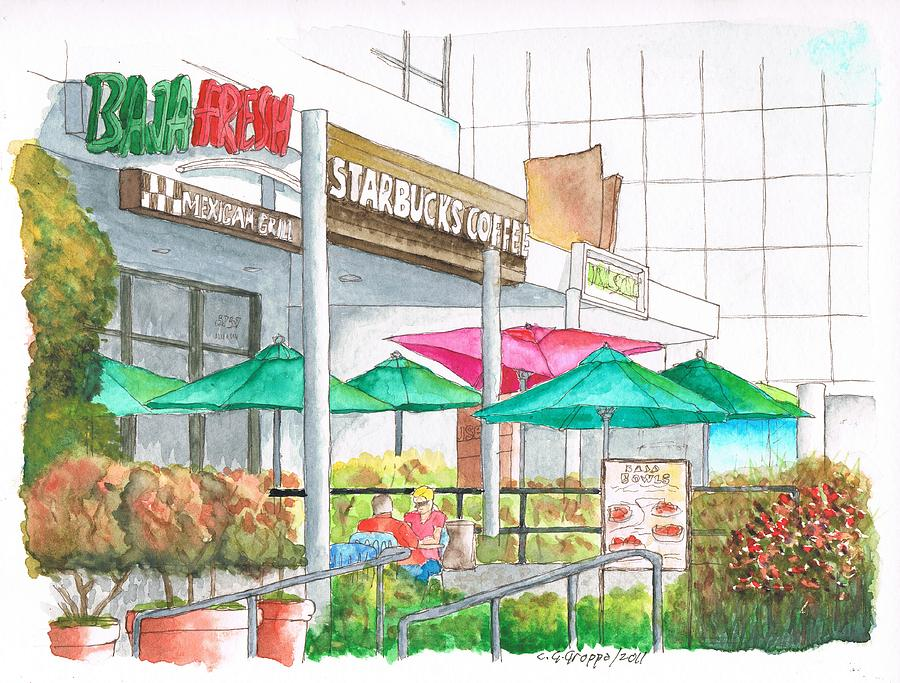 Starbucks-coffee-in-wilshire-blvd-los Angeles-ca Painting  - Starbucks-coffee-in-wilshire-blvd-los Angeles-ca Fine Art Print
