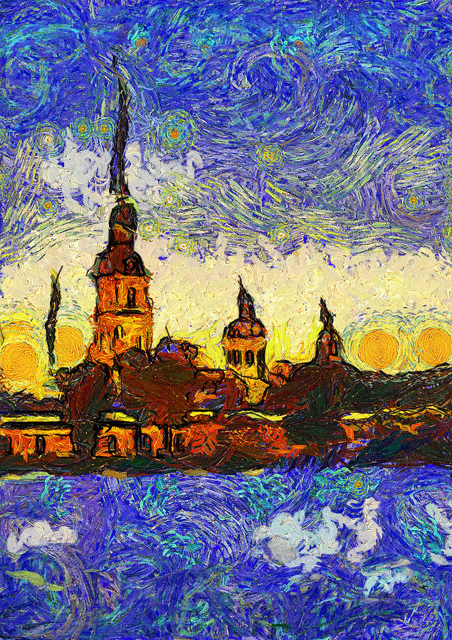 Starred Saint Petersburg Digital Art  - Starred Saint Petersburg Fine Art Print