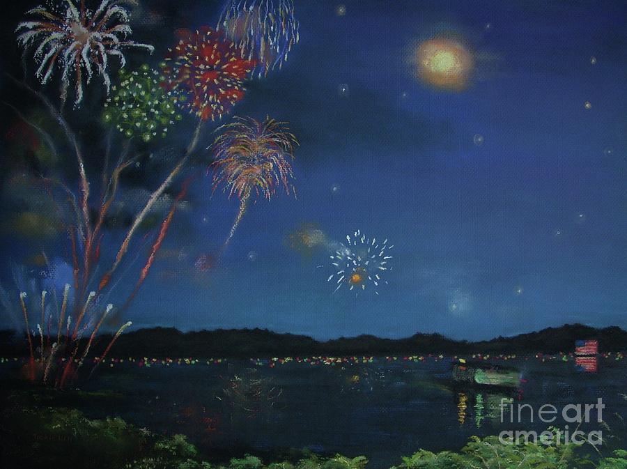 Starry Night At Crooked Creek Marina Pastel