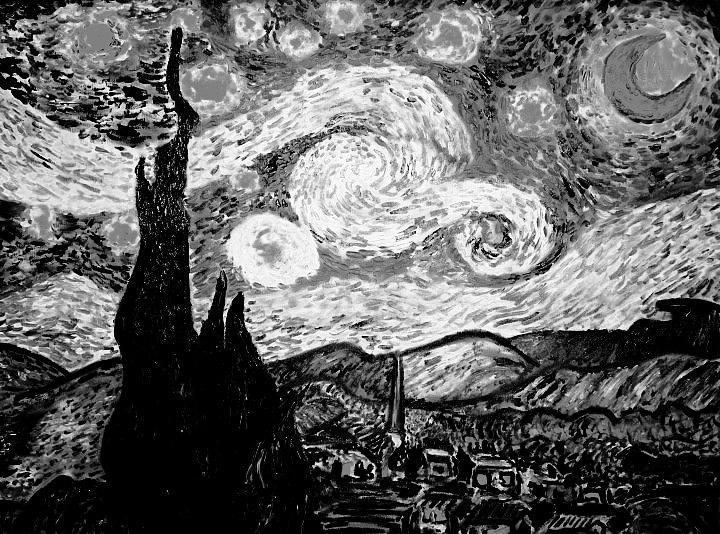 Starry night tattoo black and white