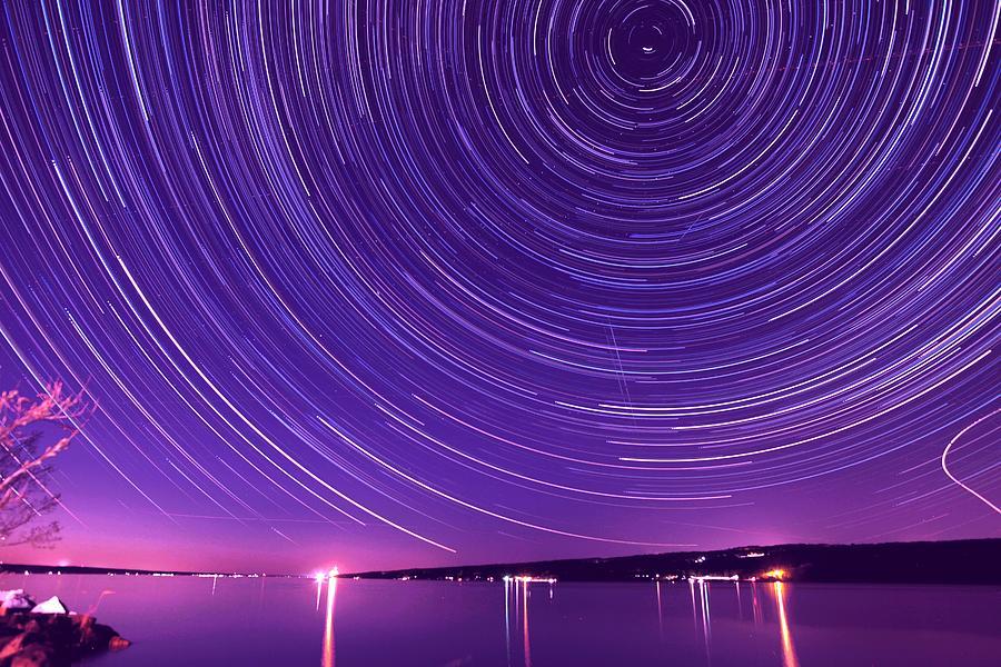 Starry Night Of Cayuga Lake Photograph