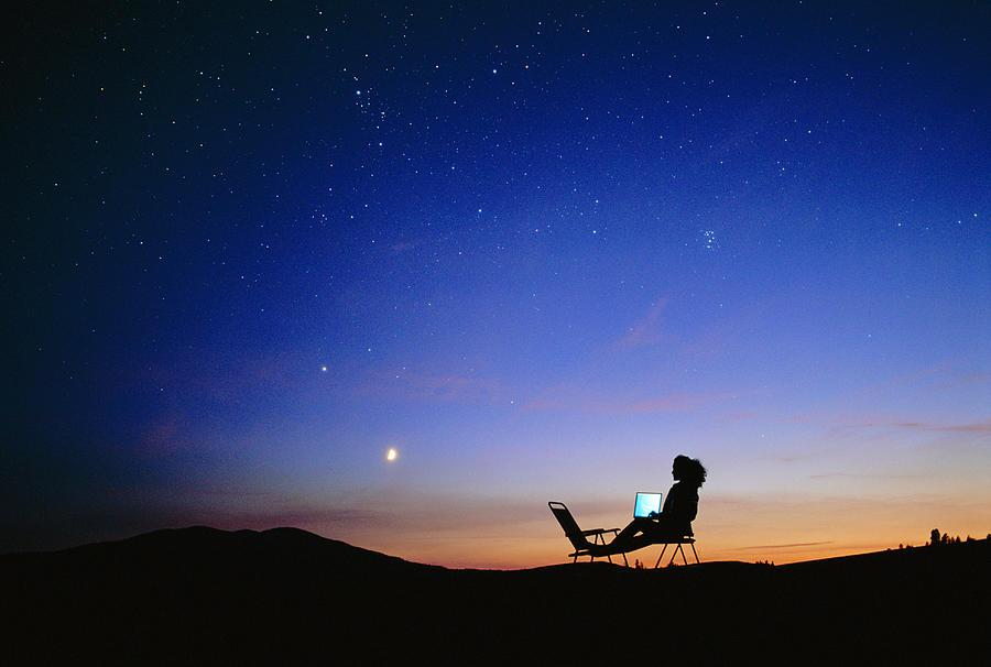 Starry Sky And Stargazer Photograph
