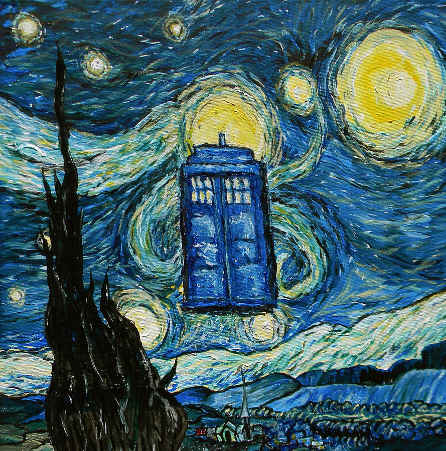 Starry Tardis Painting  - Starry Tardis Fine Art Print