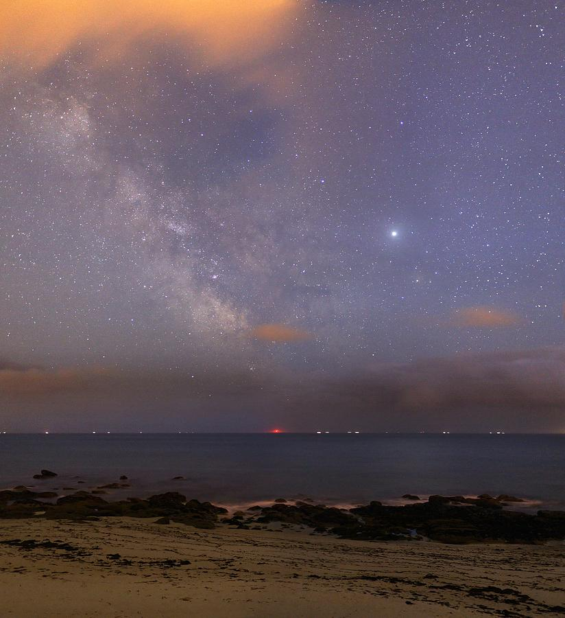 Stars And Jupiter In A Night Sky Photograph