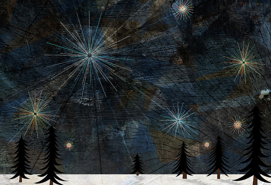 Stars Glistening In The Sky Above Pine Trees And Snow On The Ground Digital Art