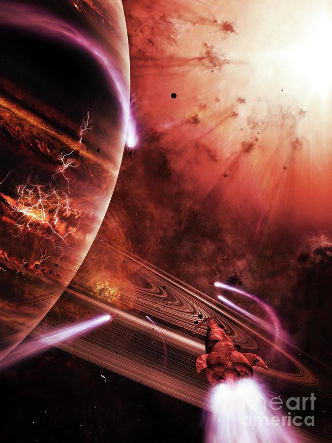 Artwork Digital Art - Starships Hone Their Skills by Brian Christensen