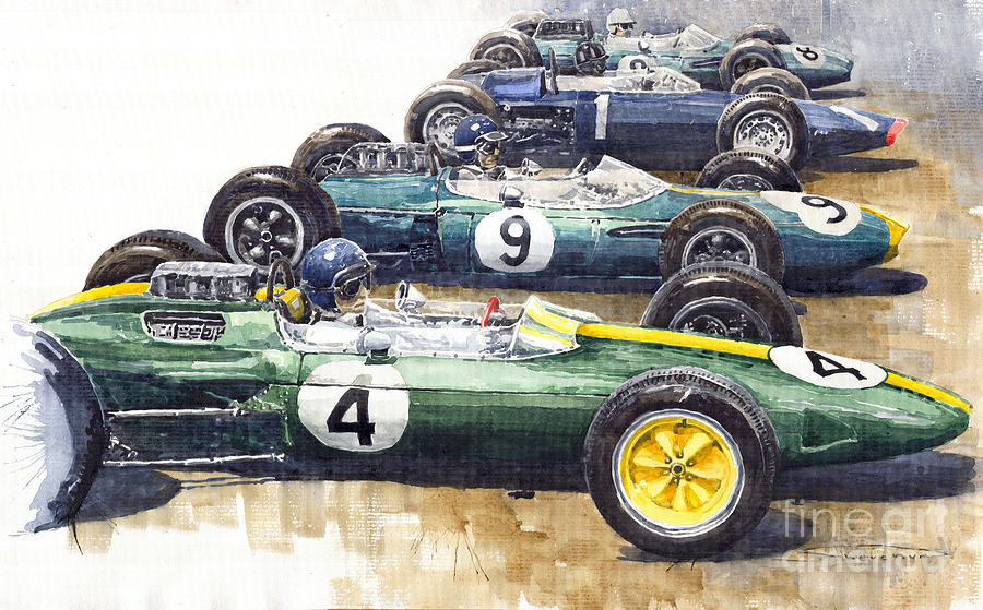 Start British Gp 1963 - Lotus  Brabham  Brm  Brabham Painting  - Start British Gp 1963 - Lotus  Brabham  Brm  Brabham Fine Art Print