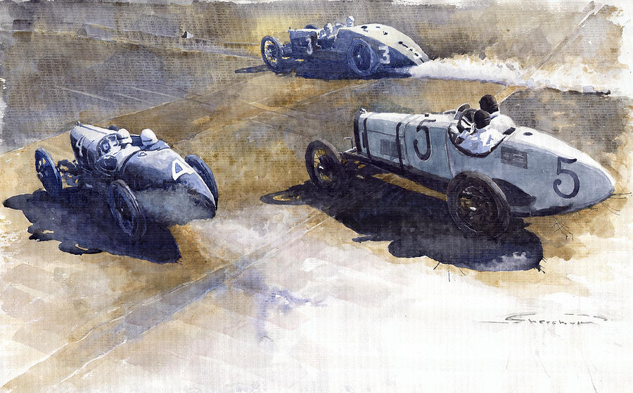 Start Italian Gp 1923 Monza  Painting  - Start Italian Gp 1923 Monza  Fine Art Print
