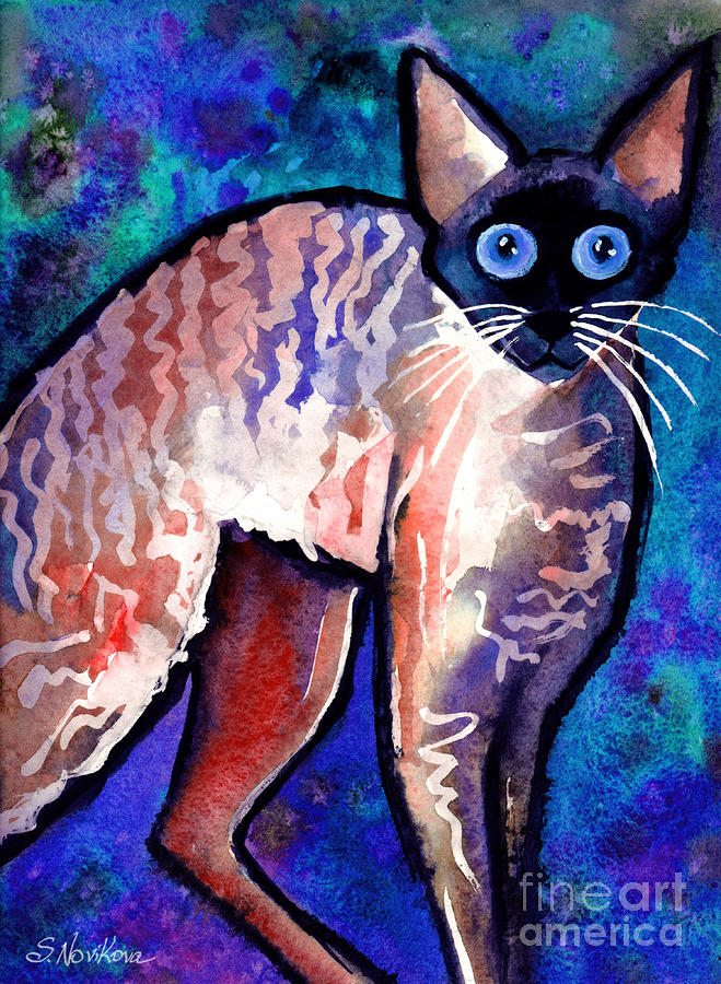 Startled Cornish Rex Cat Painting  - Startled Cornish Rex Cat Fine Art Print