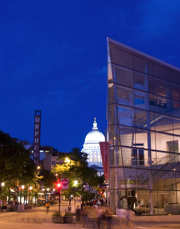 State Street View In Madison Wisconsin With Overture Center And Capitol Photograph