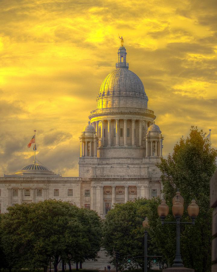 Rhode Island Photograph - Statehouse At Sunset by Jerri Moon Cantone
