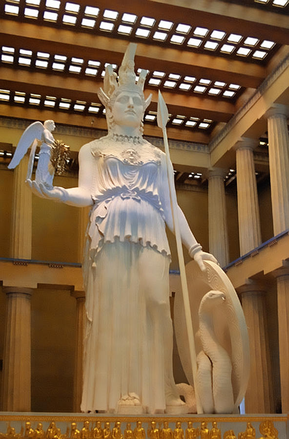 Statue Of Athena And Nike Photograph  - Statue Of Athena And Nike Fine Art Print