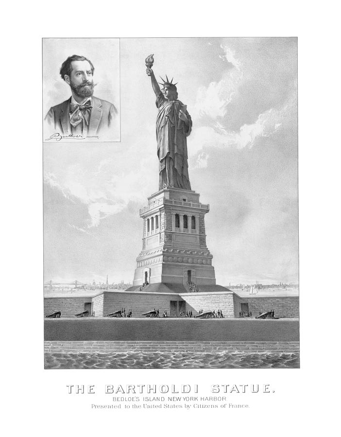 Statue Of Liberty And Bartholdi Portrait Drawing  - Statue Of Liberty And Bartholdi Portrait Fine Art Print