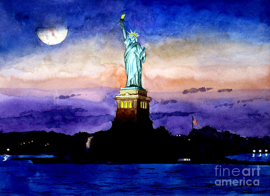 Statue Of Liberty New York Painting  - Statue Of Liberty New York Fine Art Print