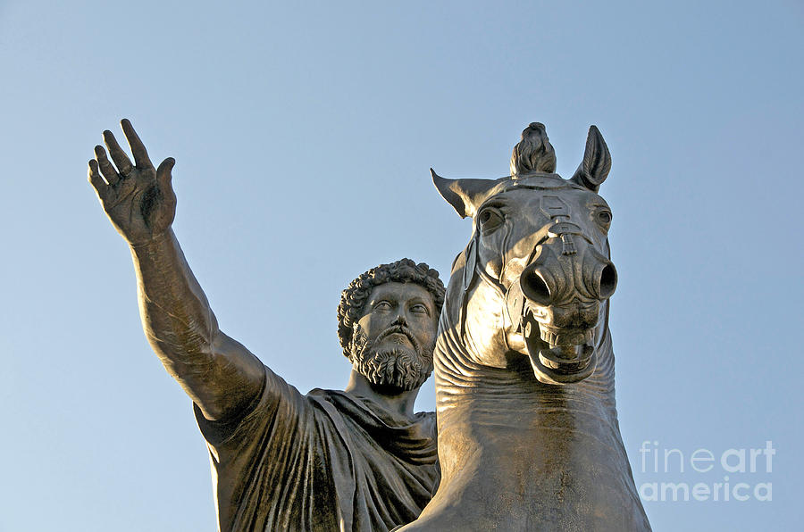 Views Photograph - Statue Of Marcus Aurelius On Capitoline Hill Rome Lazio Italy by Bernard Jaubert