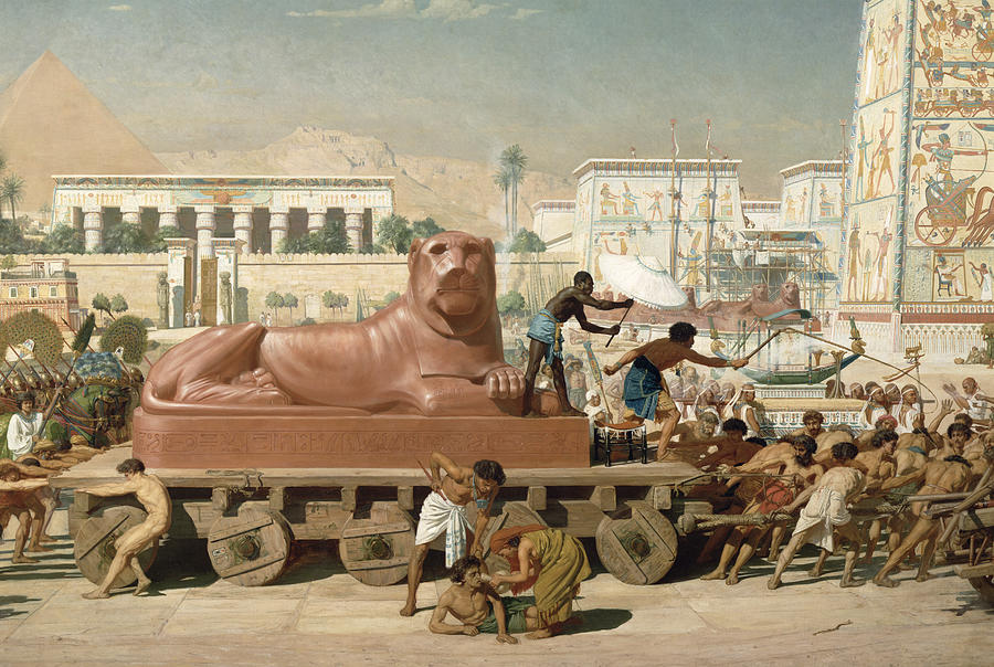 Statue Of Sekhmet Being Transported  Detail Of Israel In Egypt Painting