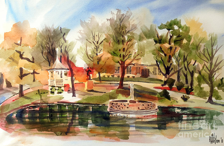 Ste. Marie Du Lac With Gazebo And Pond II Painting  - Ste. Marie Du Lac With Gazebo And Pond II Fine Art Print