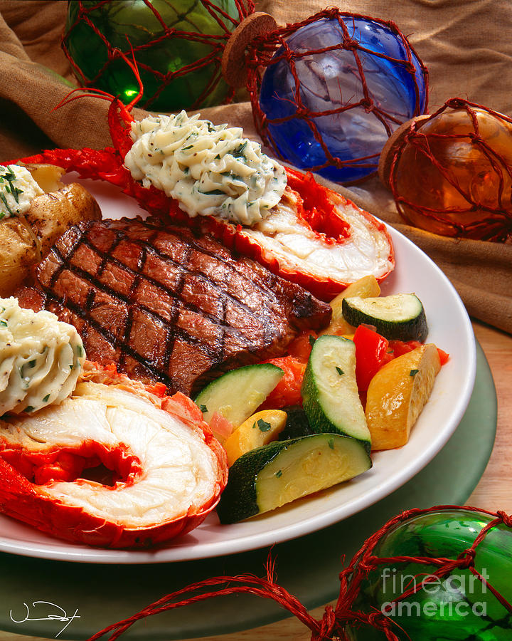 Steak And Lobster Photograph