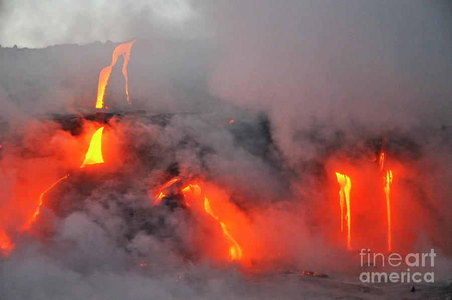 Steam Rising Off Lava Flowing Into Ocean Photograph  - Steam Rising Off Lava Flowing Into Ocean Fine Art Print